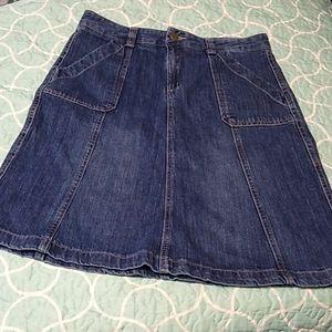 Eddie Bauer Blue Denim Jean Skirt Modest 8